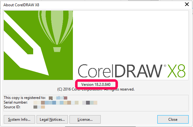 coreldraw correct version number