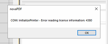 novaPDF InitializePrinter - Error reading license Information : 4380